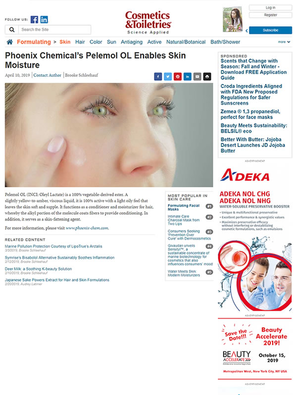 Cosmetics & Toiletries Article on Phoenix Chemical